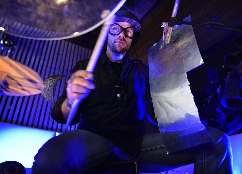Percussionist Ryan Edwards performed in the W Lounge.
