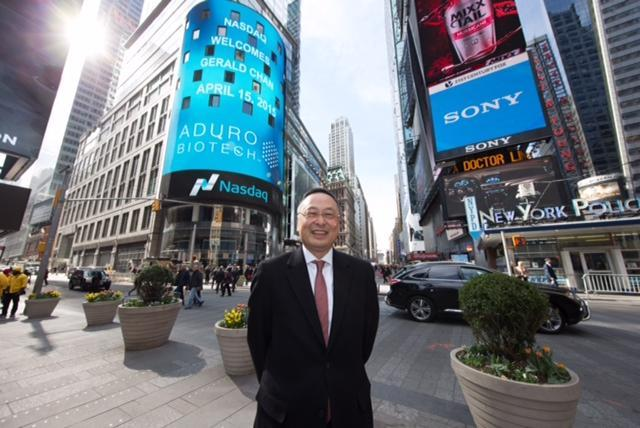 Chan outside the Nasdaq building on April 15, the day one of his big investments, Aduro Biotech, went public.