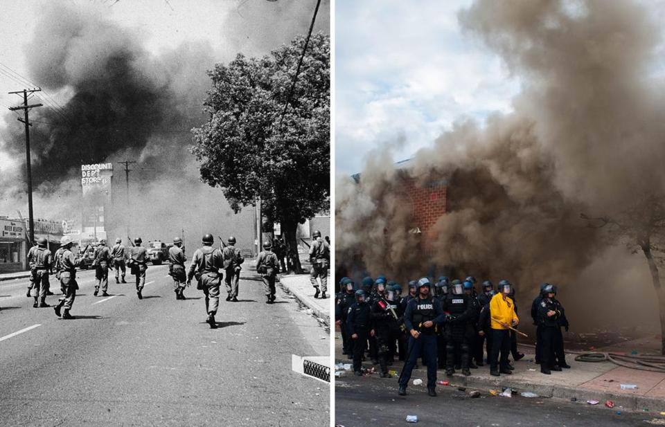 Left: 1965, Los Angeles. Armed National Guardsmen marched toward smoke on the horizon during the Watts riots. 2015, Baltimore. Police stood by a CVS on fire Monday as firefighters arrived to fight the blaze during a protest over the death of Freddie Gray.