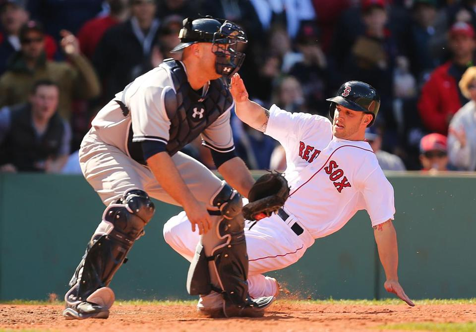 A bright spot for the Red Sox was young catcher Blake Swihart, who slid home in the seventh inning.