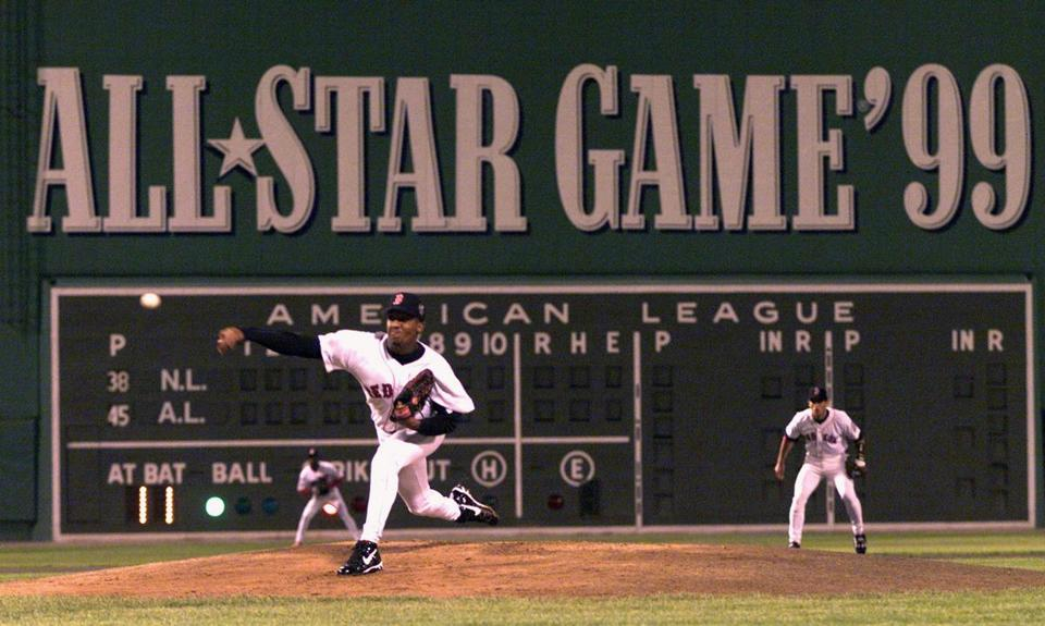 7/13/99--Boston,Ma.--Pedro Martinez pitches while Nomar Garciaparra at shortstop, first inning of the All Star Game, 1999. - Library Tag 12251999 Sports Library Tag 12142004 Sports