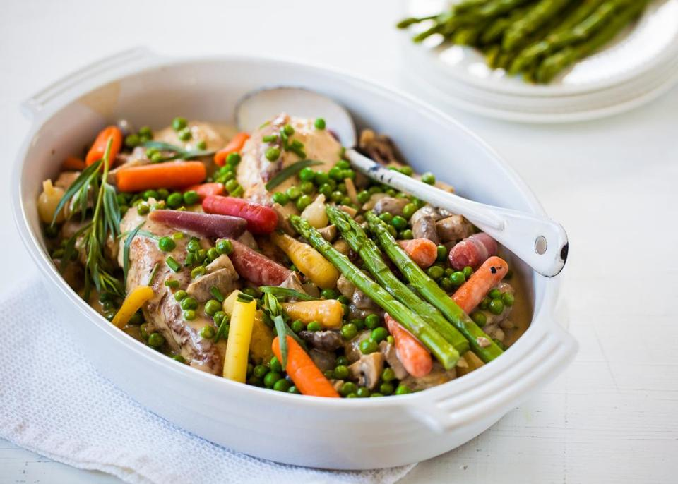 Recipe For Chicken Fricassee With Spring Vegetables The Boston Globe