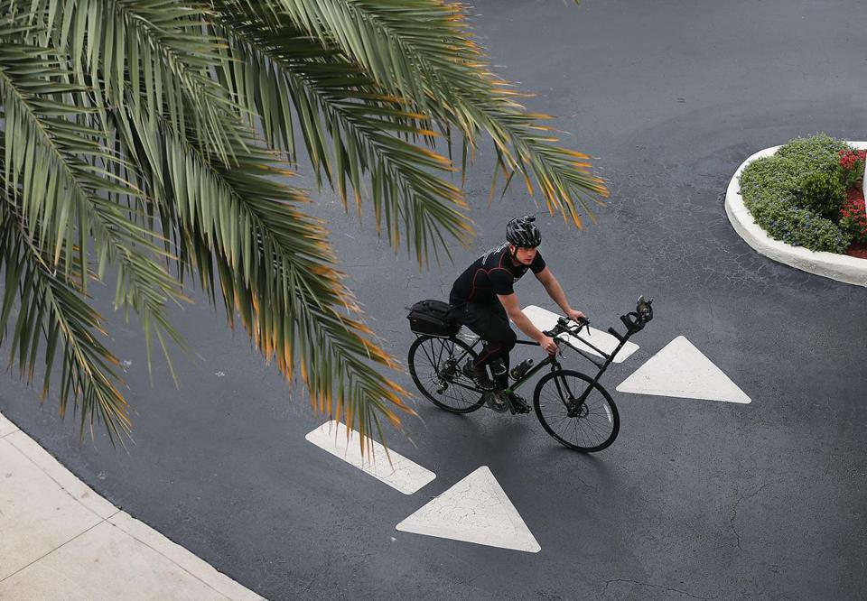 "Tom Smith biked during his ""Reality Ride Challenge"" from Boston to Miami."