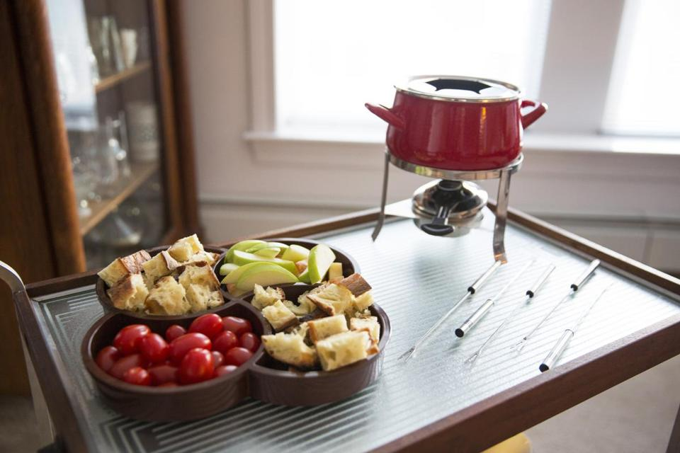 "Cheese fondue from Judy Gelman and Peter Zheutlin, co-authors of ""The Unofficial Mad Men Cookbook."""