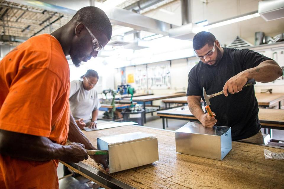 Patrick Pochette (left) and Jonathan Rivera trained at the Sheet Metal Workers Union Local 17 Training Center in Boston, which hosted Building Pathways, a six-week training initiative launched by Mayor Martin J. Walsh in 2011 when he ran the Building Trades Council.