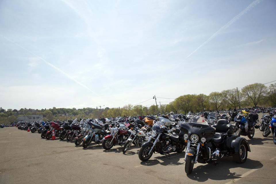 A row of bikes at Suffolk Downs for the Boston's Wounded Vet Run. Kieran Kesner for The Boston Globe.