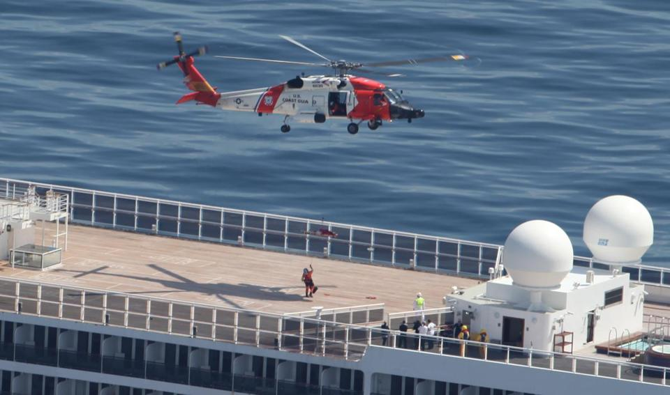 Man Medically Evacuated Off Cruise Ship By Coast Guard Helicopter - Cruise ship rescue