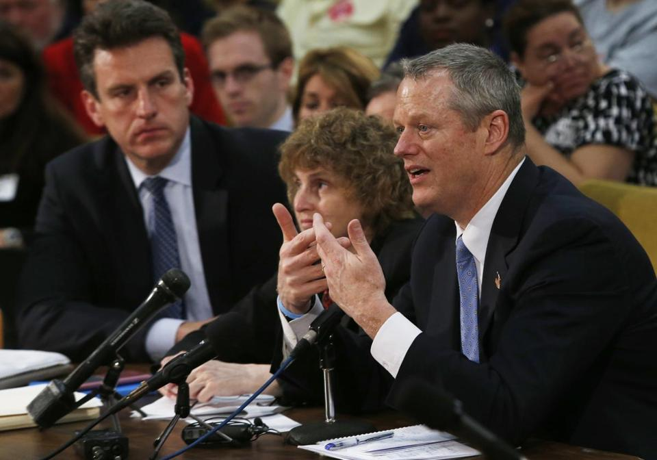 Governor Charlie Baker testified in support of the MBTA overhaul bill at the State House on Monday.
