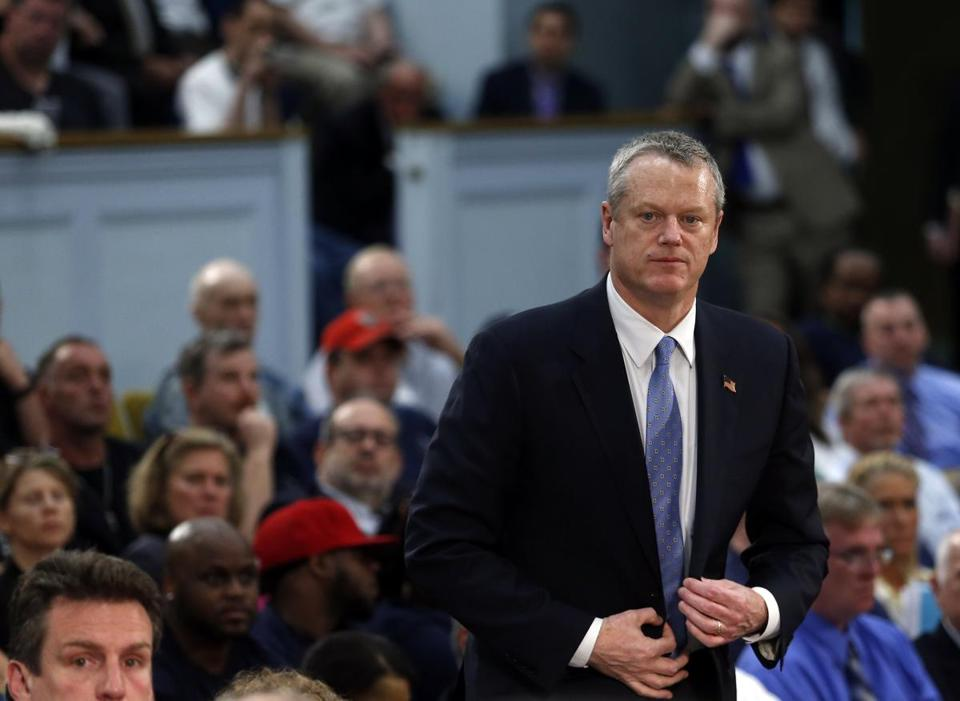 Governor Charlie Baker testified in support of the MBTA overhaul bill at the State House.