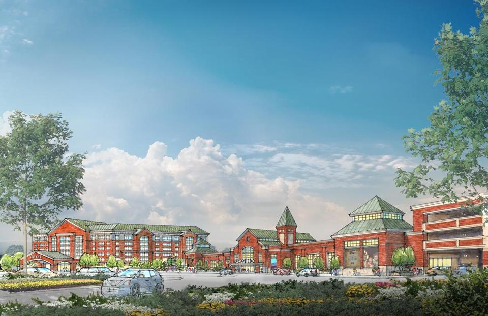 Mass Gaming and Entertainment's first design for a proposed Brockton casino (shown above) was panned by the state Gaming Commission.