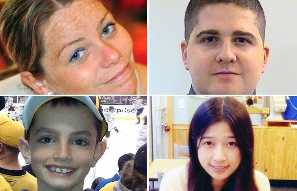Dzhokhar Tsarnaev was convicted in the deaths of Krystle Campbell (clockwise from top left), Sean Collier, Lingzi Lu, and Martin Richard.