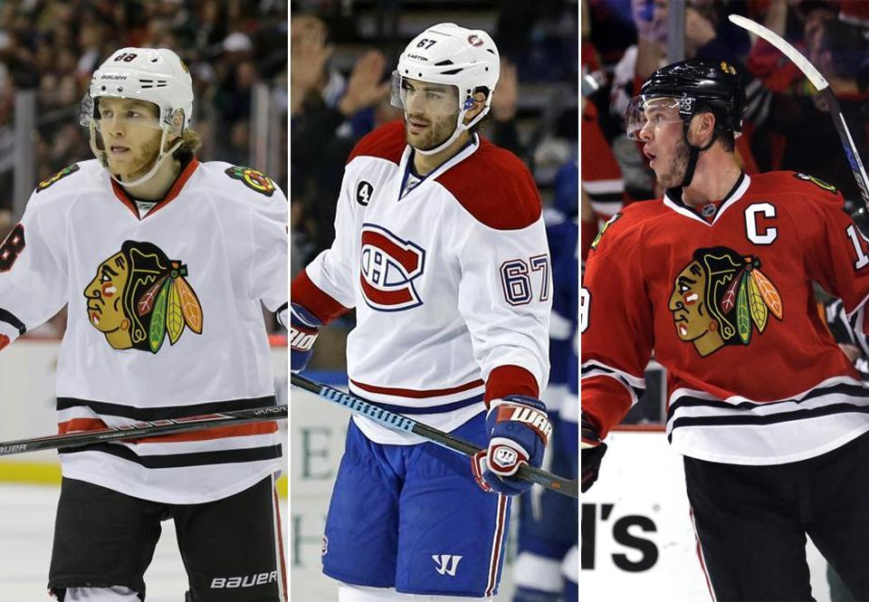 From left: Patrick Kane, Max Pacioretty, and Jonathan Toews all hired Darryl Belfry as their skills coach.