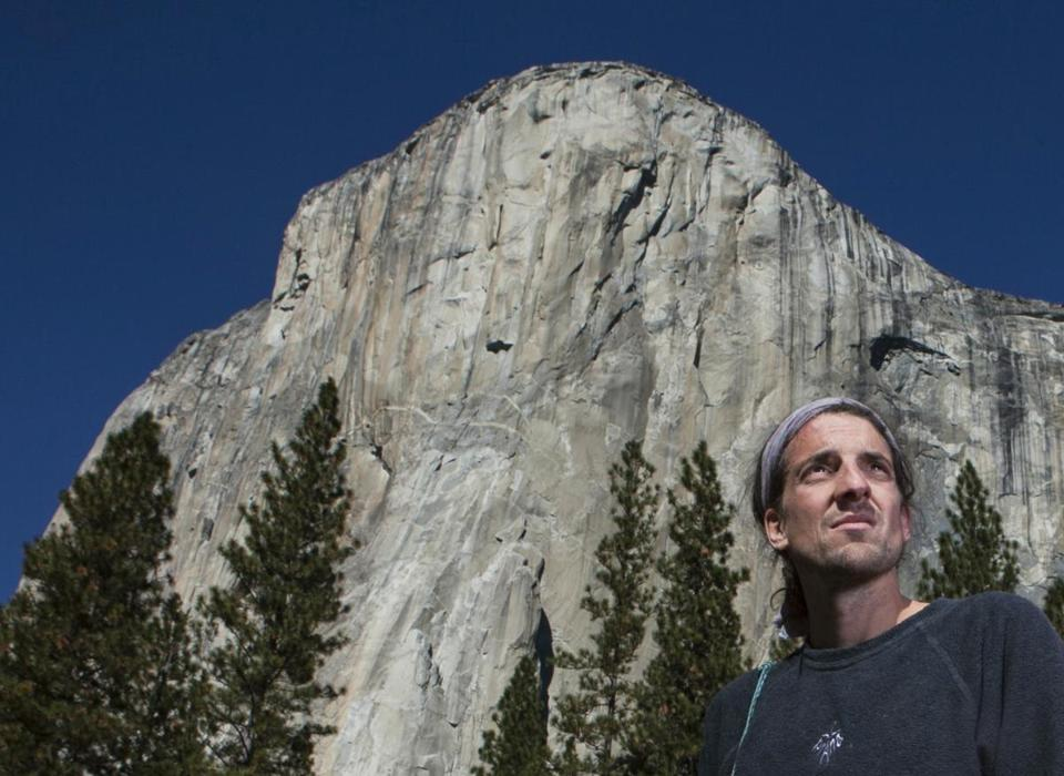 Dean Potter stood in front of El Capitan after a speed climbing attempt up El Capitan in Yosemite National Park, Calif.