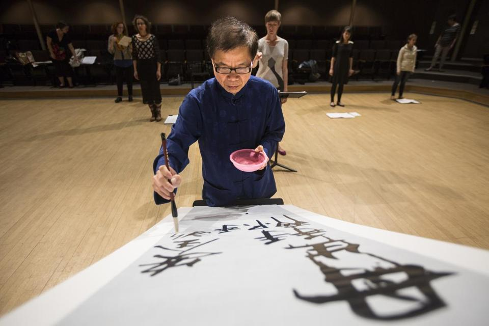 Chinese calligrapher Mike Mei in rehearsal with the Lorelei Ensemble.