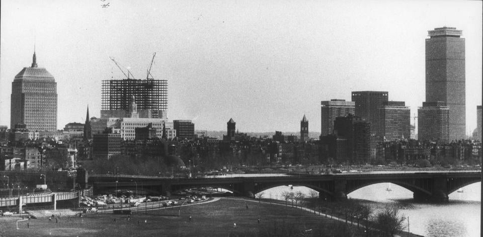 The John Hancock Tower under construction in 1971.