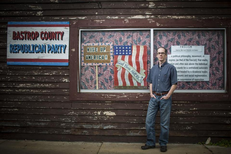 Bastrop County Republican chairman Albert L. Ellison in front of the county GOP headquarters in downtown Bastrop.