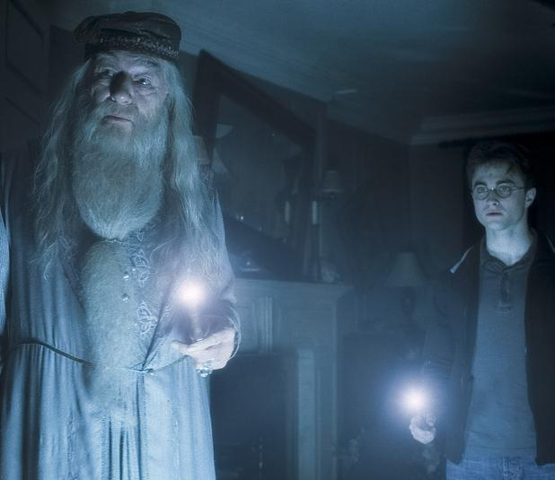 "Michael Gambon as Professor Dumbledore (left) and Daniel Radcliffe as Harry Potter. The best-selling book series by J.K. Rowling is now the basis ""Harry Potter and the Sacred Text,"" currently the most popular podcast on the iTunes spirtuality and religion charts. The show, produced by two Harvard Divinity School graduates, is downloaded about 100,000 times a week."