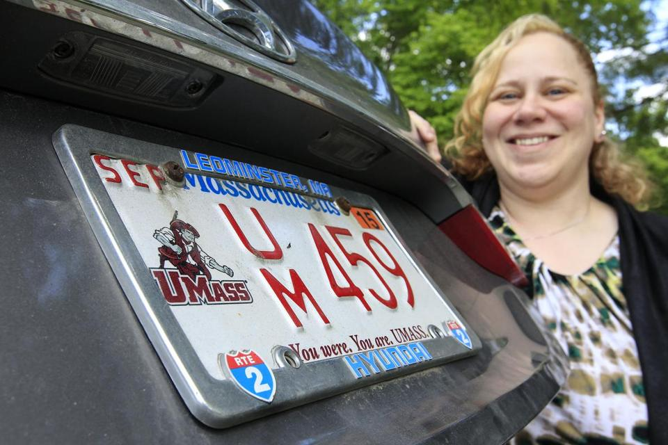 Angela Guillemette with her UMass Amhest license plate.