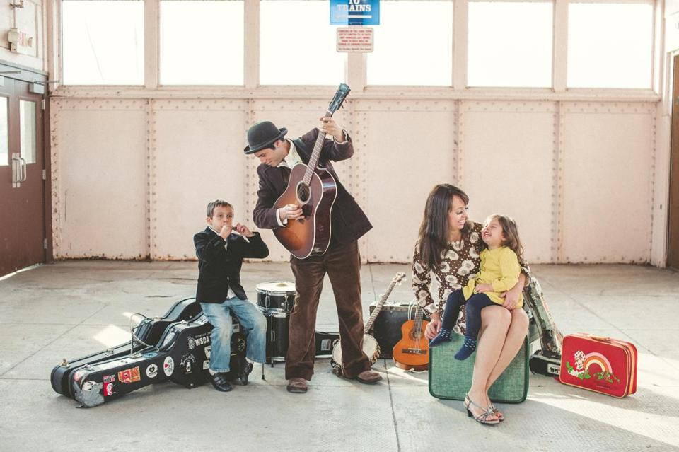 Mike Merenda and Ruthy Ungar take their young children, Willy and Opal, on the road with them.