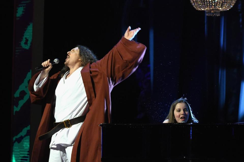 """Weird Al"" Yankovic (with Jodi DiPiazza) performing in New York City earlier this year."