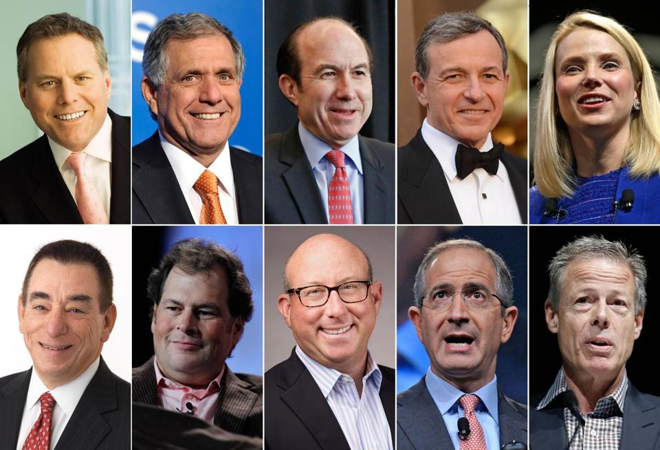 This photo shows the ten highest-paid CEOs in 2014, according to a study carried out by executive compensation data firm Equilar and The Associated Press. Top row, from left: David Zaslav, Discovery Communications; Les Moonves, CBS; Philippe Dauman, Viacom; Robert Iger, Walt Disney; and Marissa Mayer, Yahoo. Bottom row, from left: Leonard Schleifer, Regeneron Pharmaceuticals; Marc Benioff, Salesforce; Jeffrey Leiden, Vertex Pharmaceuticals; Brian Roberts, Comcast; and Jeffrey Bewkes, Time Warner. (AP Photo)