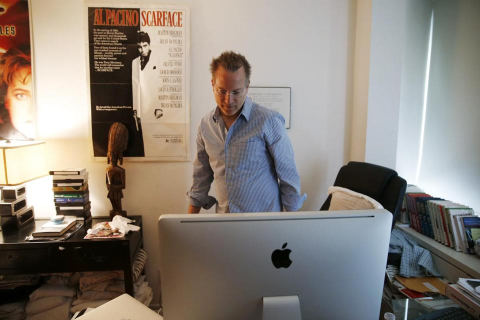 "Author Ben Mezrich in his office in Boston in 2015. His new book, ""The 37th Parallel,"" will be released Sept. 6."