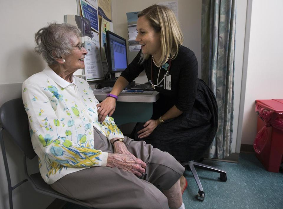 For Dr. Katie Jobbins, here with patient Stella Czelusniak, 97, at the Baystate High Street Health Center in Springfield, relationships are the most important part of her practice.