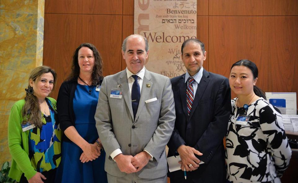 The International Center's staff at the Mayo Clinic (from left) international patient coordinator and translator Ingy Salib, operations manager Melissa Goodwin, Medical Director of the International Center Dr. Mikel Prieto M.D., Haider Rabeea and international patient coordinator and translator Susan Xu.
