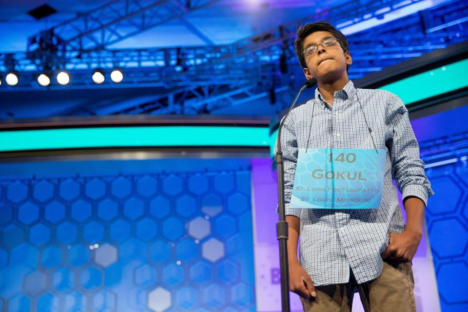 "Gokul Venkatachalam, 14, of St. Louis, Miss. stood on stage before correctly spelling ""bordereau"" during the semifinals of the 2015 Scripps National Spelling Bee, onThursday."