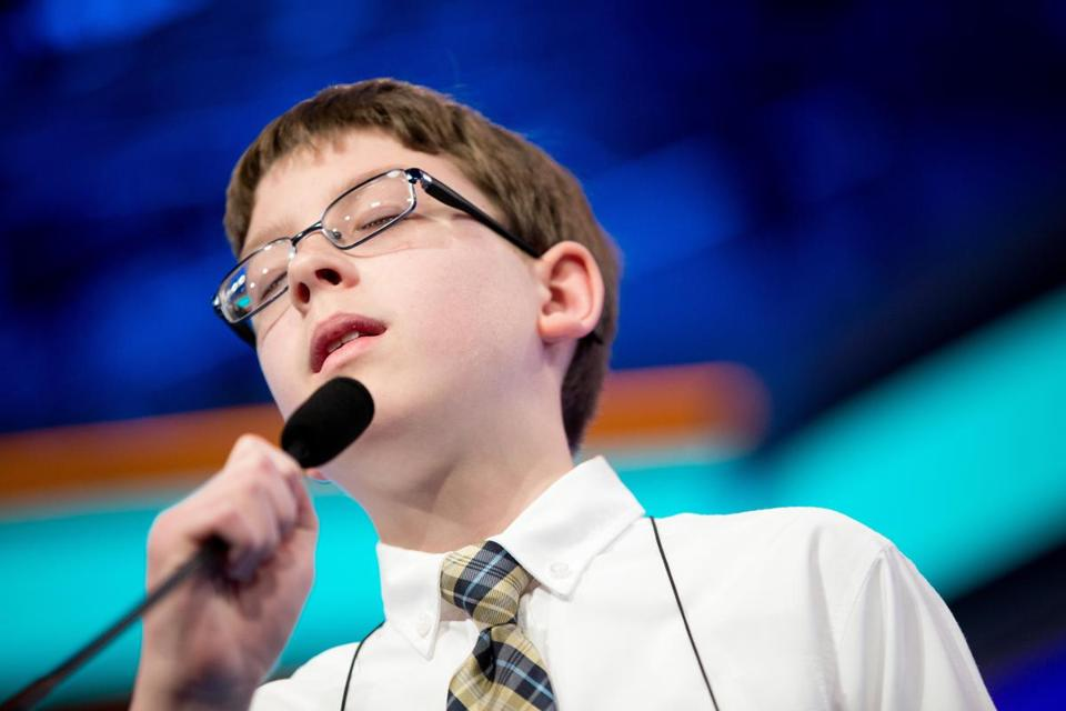 "Owen Kovalik, 12, of Akron, Ohio, reacted after incorrectly spelling ""xenodochium."""