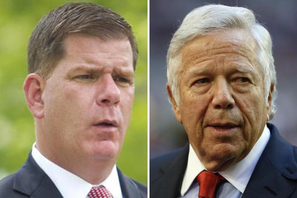 Boston Mayor Marty Walsh (left) isn't warm to the idea of using public funds to build a sports arena. Meanwhile, Revolution owner Robert Kraft (right) is already on much better terms with the mayor than his predecessor