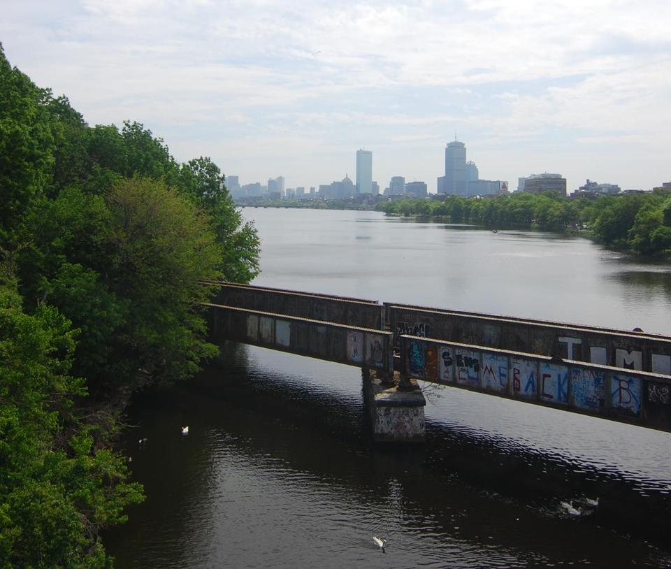 The little-used bridge carrying the Grand Junction railroad over the Charles River has been discussed for years as a possible transit link between Allston and Kendall Square.