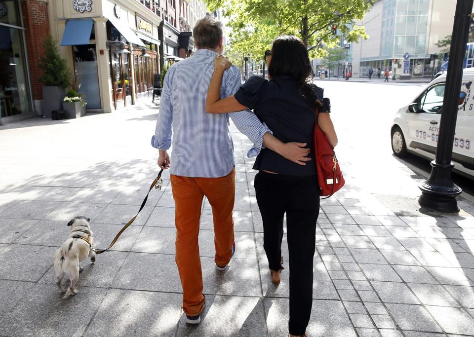 8:24 a.m. Mezrich walked his dog Bugsy with his wife, Tonya.