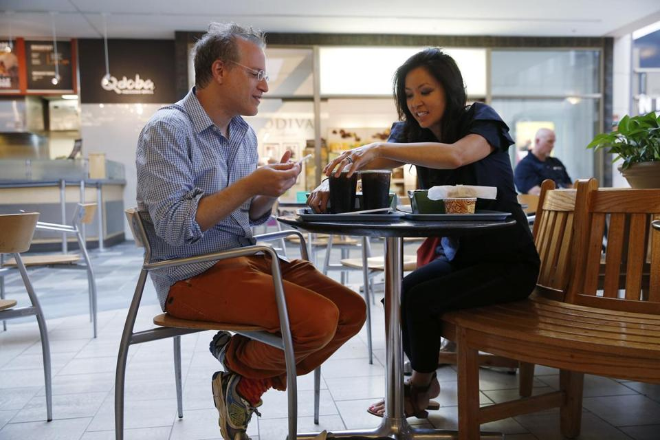Mezrich and his wife, Tonya, share a meal at the food court at the Shops at the Prudential Center.
