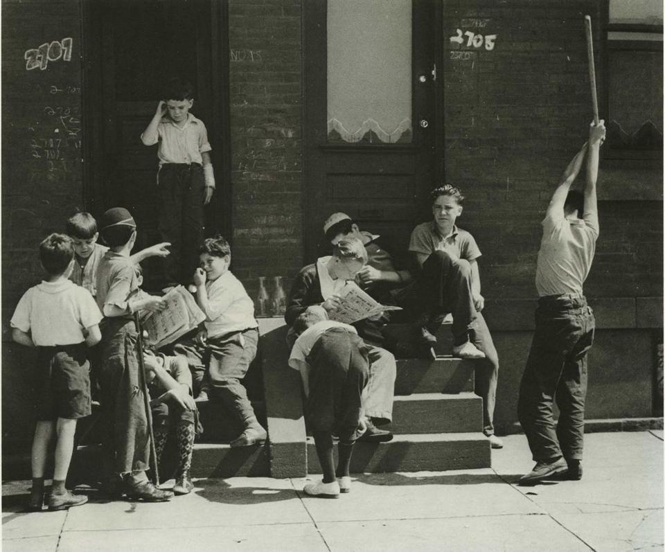 "Peter Sekaer's ""Sunday morning, boys on stoop, Morris Avenue, Philadelphia."""
