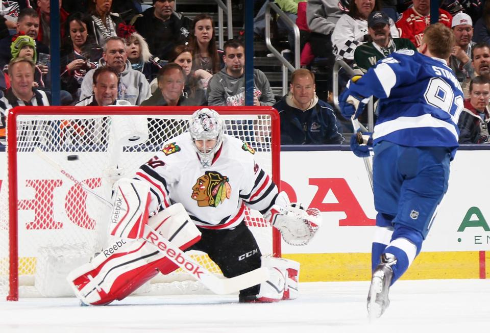 Steven Stamkos Right, Of The Tampa Bay Lightning And Corey Crawford Of The  Chicago Blackhawks