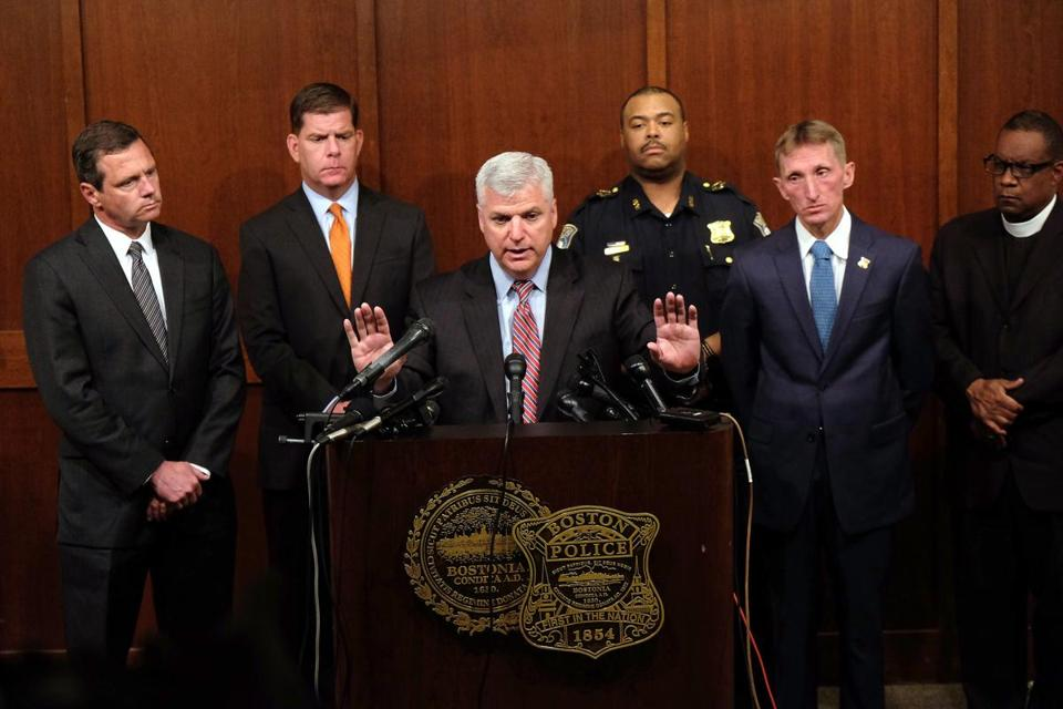 Suffolk County District Attorney Daniel F. Conley held a press conference following the shooting by Boston Police of Usaamah Rahim.