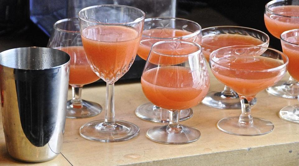 Mike Dunn's drink featuring a rhubarb and honey syrup was served in various styles of cocktail glasses.