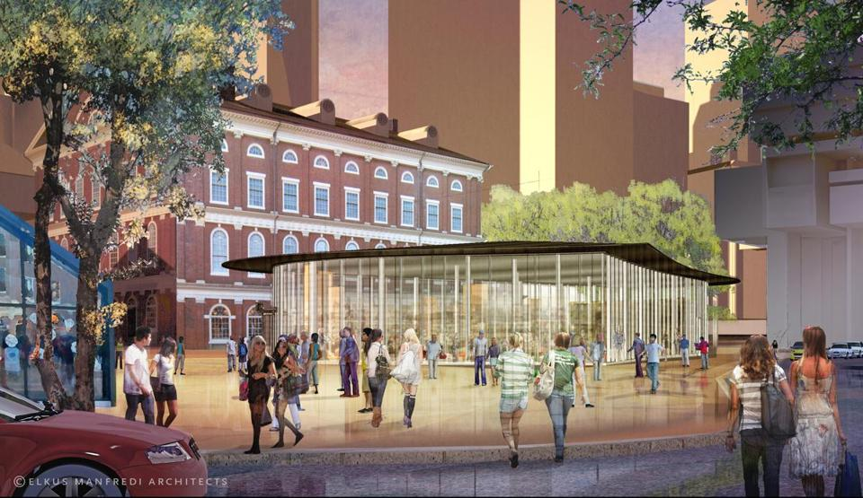 A new retail pavilion will replace the flower kiosk next to Quincy Market.