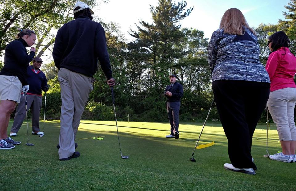 PGA Golf pro Tom Ellis gave a lesson this month at Brookline's Robert T. Lynch Municipal Golf Course, where he works.