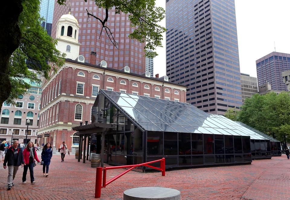 The glass enclosure that once housed a garden shop will be torn down and replaced at the Faneuil Hall Marketplace.