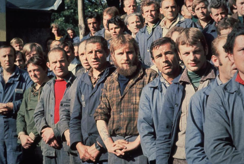Members of the Polish trade union, Solidarity, on strike at the Lenin Shipyard in Gdansk in August 1980.