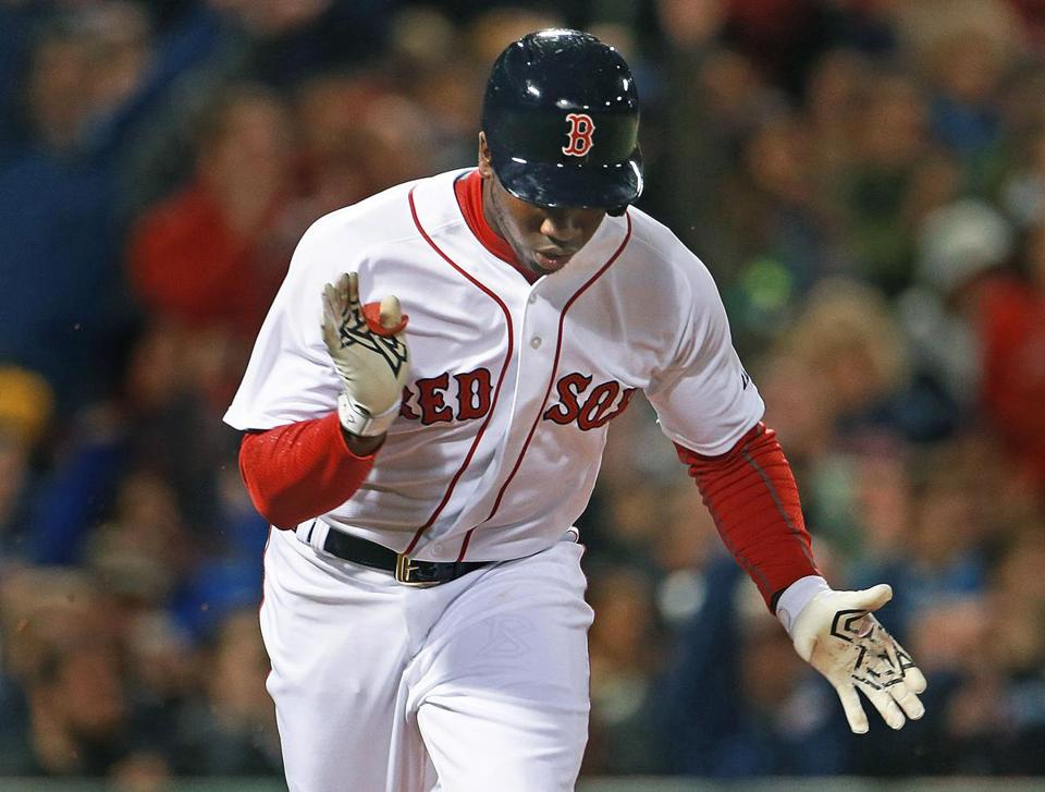 Castillo clapped after his eighth-inning hit that scored Bogaerts.