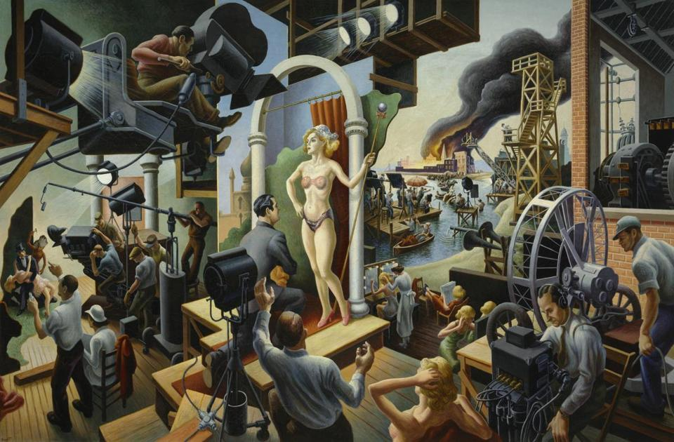 "Thomas Hart Benton's ""Hollywood,"" part of the Peabody Essex Museum's ""American Epics: Thomas Hart Benton and Hollywood"" exhibit."