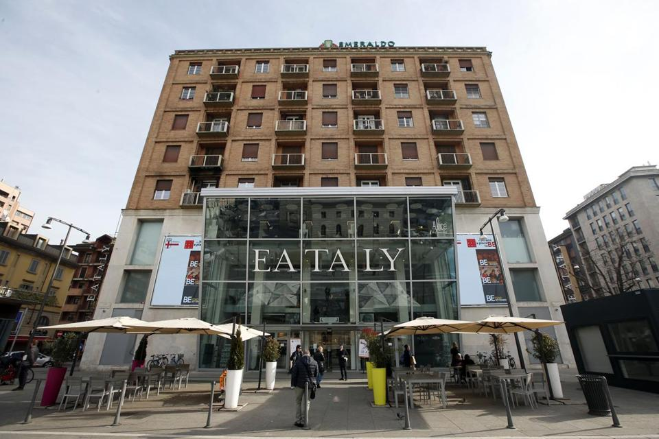 An outside view of 'Eataly' store, the Italian food chain specialized in quality Italian food in Milan, Italy, Wednesday, Jan. 28, 2015. (AP Photo/Luca Bruno)