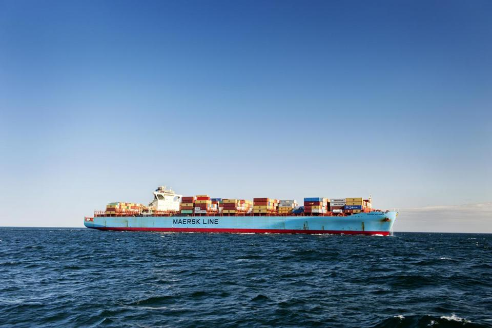 The container ship Maersk Kalamata was recently guided into the port of Boston.