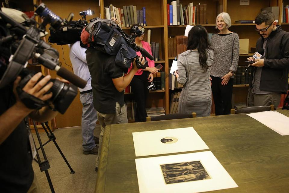 Boston Public Library president Amy Ryan (right) spoke to the media after the discovery of the Dürer and Rembrandt prints.
