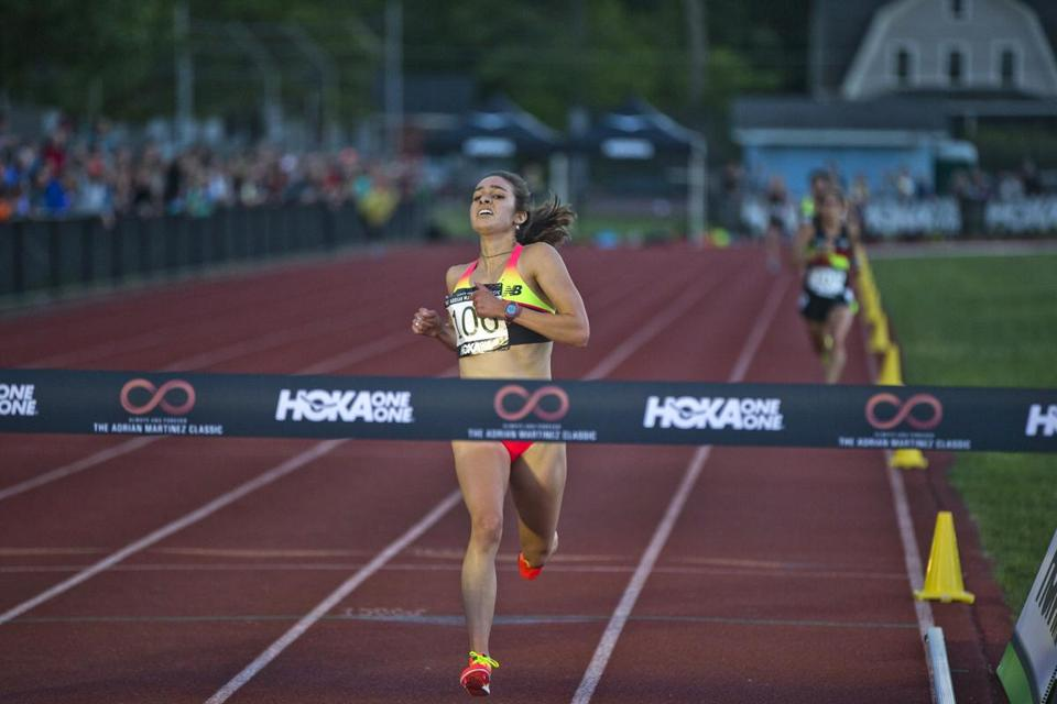 Concord, MA-June 5, 2015-Globe Staff Photo by Stan Grossfeld- Abbey D'Agostino setting a meet record ain the Women's 5000m - 1st 15:23.66 at the Adrian Martinez Classic held at the Emerson Playground.
