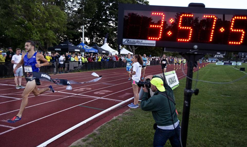 Concord, MA-June 5, 2015-Globe Staff Photo by Stan Grossfeld-Robby Andrews wins the Men's Mile with a time of 3:57.15 at the Adrian Martinez Classic held at the Emerson Playground.