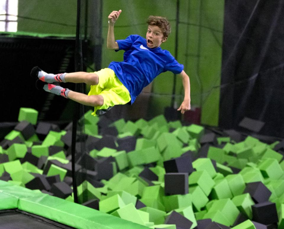 Tanner Creelman, from Weston, celebrated his eleventh birthday doing a back flip into the Foam Pit at Launch Trampoline Park.